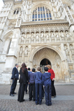 Students visiting Westminster Abbey